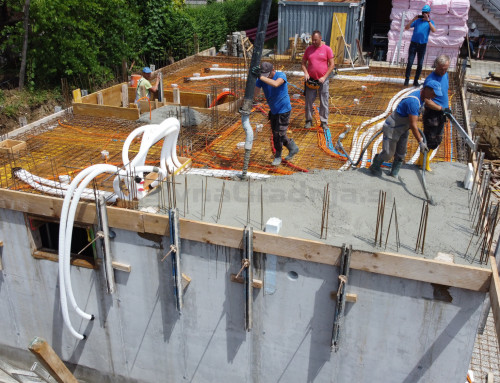 Pasivna hiša R – Izvedba kleti – Betoniranje plošče nad kletjo